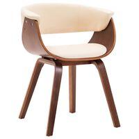 vidaXL Cadeira de jantar madeira curvada e couro artificial cor creme