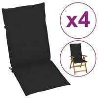 vidaXL Almofadões para cadeiras de jardim 4 pcs 120x50x3 cm preto