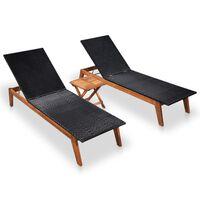 vidaXL Espreguiçadeiras com mesa 2 pcs vime PE e madeira acácia maciça
