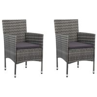 vidaXL Cadeiras de jantar para jardim 2 pcs vime PE cinzento