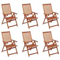 vidaXL Cadeiras de jardim dobráveis 6 pcs madeira de acácia maciça