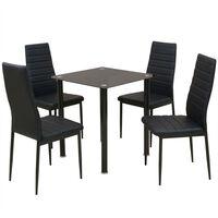 vidaXL Conjunto 5 pcs de mesa de jantar e cadeiras preto
