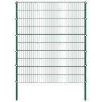 vidaXL Painel de vedação com postes ferro 1,7x2 m verde