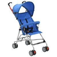vidaXL Carrinho de bebé dobrável azul aço