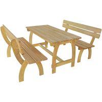 vidaXL Mesa de jardim com 2 bancos madeira de pinho impregnada