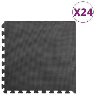 vidaXL Tapetes de chão 24 pcs 8,64 ㎡ espuma de EVA preto