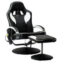 vidaXL Cadeira massagens c/ apoio pés couro artificial branco