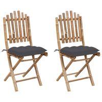 vidaXL Cadeiras de jardim dobráveis c/ almofadões 2 pcs bambu
