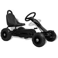 vidaXL Kart a pedais com pneus pneumáticos preto