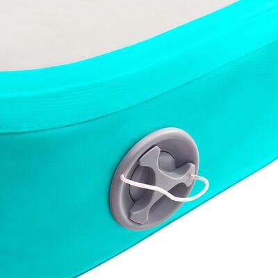 vidaXL Colchão de ginástica insuflável c/ bomba 400x100x20cm PVC verde