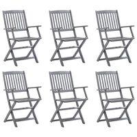 vidaXL Cadeiras de exterior dobráveis 6 pcs madeira de acácia maciça