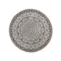 Tapete circular de algodão ø120 cm creme e preto HIZAN
