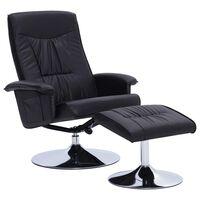 vidaXL Cadeira reclinável c/ apoio de pés couro artificial preto