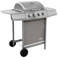 vidaXL Grelhador/barbecue a gás 4 discos prateado