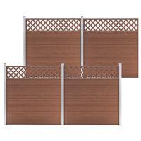 vidaXL Conjunto de painéis vedação 4 quadrados 699x185 cm WPC castanho