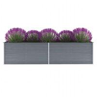 vidaXL Canteiro elevado de jardim aço galvanizado 320x80x77cm cinzento