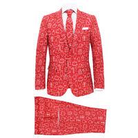vidaXL 2 pcs fato de Natal c/ gravata homem tam. 48 prendas vermelho