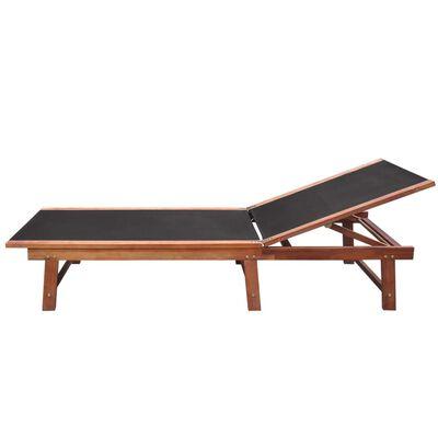 vidaXL Espreguiçadeira com mesa madeira de acácia maciça e textilene