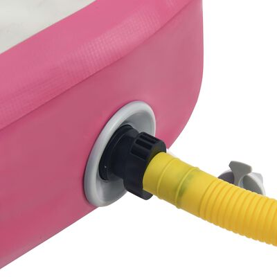 vidaXL Colchão de ginástica insuflável c/ bomba 400x100x15 cm PVC rosa