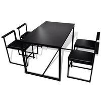 vidaXL Conjunto mesa e cadeiras de jantar 5 pcs preto