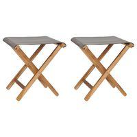 vidaXL Cadeiras dobráveis 2 pcs teca maciça e tecido cinzento-escuro