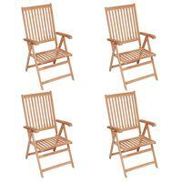 vidaXL Cadeiras de jardim reclináveis 4 pcs madeira de teca maciça