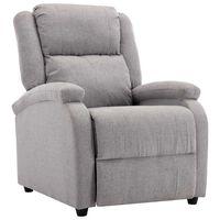vidaXL Cadeira de TV reclinável tecido cinzento-claro