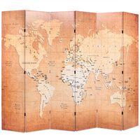 vidaXL Biombo dobrável mapa mundo 228x170 cm amarelo