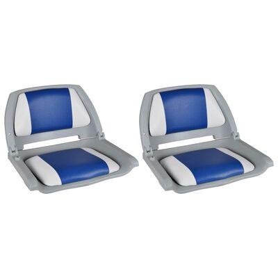 vidaXL Assentos barco 2 pcs encosto dobrável azul/branco 41x51x48 cm