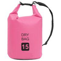 vidaXL Bolsa impermeável 15 L PVC rosa