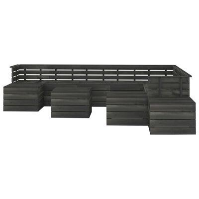 vidaXL 12 pcs conjunto lounge de paletes pinho maciço cinzento-escuro