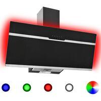 vidaXL Exaustor RGB LED 90 cm aço inoxidável e vidro temperado