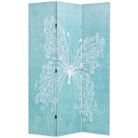 vidaXL Biombo dobrável com estampa de borboleta azul 120x170 cm
