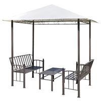 vidaXL Pérgula para jardim com mesa e bancos 2,5x1,5x2,4 m
