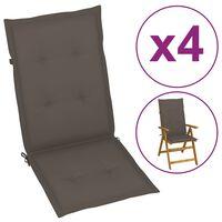 vidaXL Almofadões p/ cadeiras jardim 4pcs 120x50x4cm cinza-acastanhado