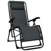 vidaXL Cadeira de pátio dobrável textilene preto