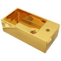 vidaXL Lavatório com extravasamento 49x25x15 cm cerâmica dourado