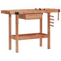 vidaXL Bancada de carpintaria com gaveta e 2 tornos madeira de folhosa