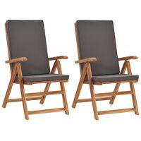 vidaXL Cadeiras jardim reclináveis + almofadões 2pcs teca maciça cinza