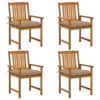 vidaXL Cadeiras de realizador com almofadões 4 pcs acácia maciça
