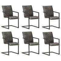 vidaXL Cadeiras de jantar 6 pcs couro genuíno antracite