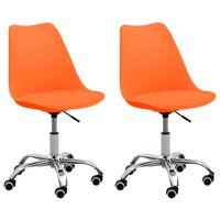 vidaXL Cadeiras de escritório 2 pcs couro artificial laranja