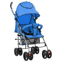 vidaXL Carrinho de bebé 2-em-1 dobrável azul aço