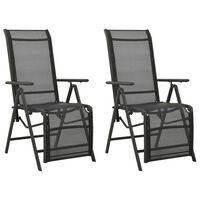 vidaXL Cadeiras de jardim reclináveis 2 pcs textilene e alumínio preto