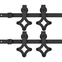 vidaXL Sliding Door Hardware Kits 2 pcs 200 cm Steel Black (2x145261)