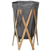 vidaXL Cesto para roupa suja dobrável madeira e tecido cinzento