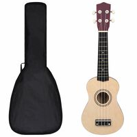 "vidaXL Conjunto ukulele soprano infantil c/ saco madeira clara 21"""