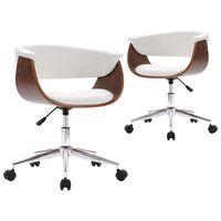 vidaXL Cadeiras de jantar giratórias 2 pcs couro artificial branco
