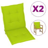 vidaXL Almofadões p/ cadeiras de jardim 2 pcs 100x50x4 cm verde-claro