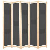 vidaXL Divisória de quarto com 5 painéis 200x170x4 cm tecido cinzento